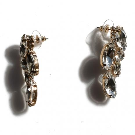 Κολιέ φο μπιζού σετ με σκουλαρίκια με λευκούς κρυστάλλους σε απαλό χρυσό χρώμα BZ-NK-00337 Σκουλαρίκια