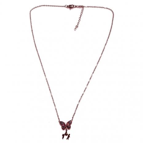 Κολιέ ατσάλινο (stainless steel) πεταλούδα μαμά αγοράκι κοριτσάκι με κρυστάλλους σε ροζ χρυσό χρώμα BZ-NK-00345 εικόνα 3