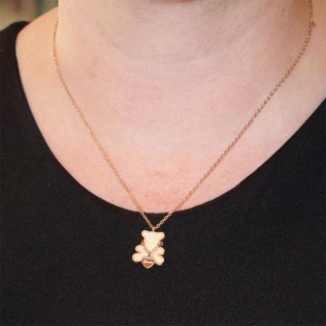 Κολιέ ατσάλινο (stainless steel) αρκουδάκι Love με mother of pearl σε ροζ χρυσό χρώμα BZ-NK-00348 εικόνα 2