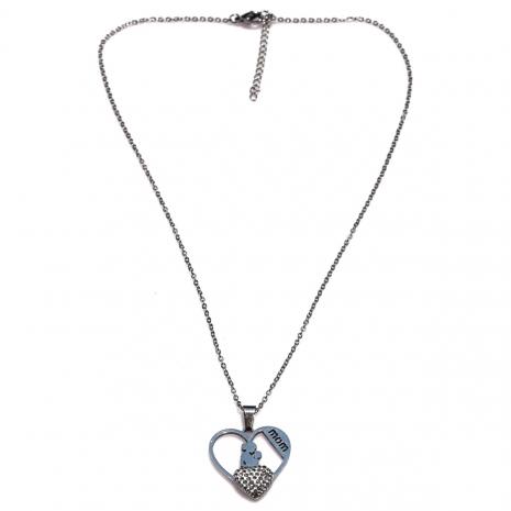 Κολιέ ατσάλινο (stainless steel) καρδιά μαμά μωρό mom με λευκούς κρυστάλλους σε ασημί χρώμα BZ-NK-00351 εικόνα 3