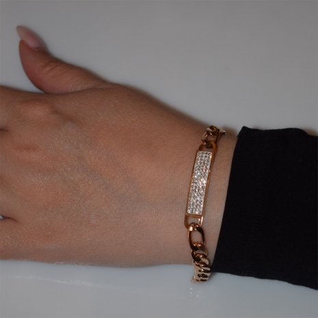 Βραχιόλι ατσάλινο (stainless steel) ταυτότητα με λευκούς κρυστάλλους σε ροζ χρυσό χρώμα BZ-BR-00445 Εικόνα 2
