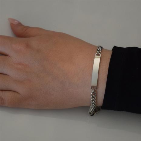 Βραχιόλι ατσάλινο (stainless steel) ταυτότητα σε ασημί χρώμα BZ-BR-00446 Εικόνα 2