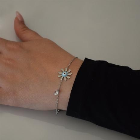 Βραχιόλι ατσάλινο (stainless steel) λουλούδι ματάκι με λευκούς κρυστάλλους και σμάλτο σε ασημί χρώμα BZ-BR-00453 Εικόνα 2