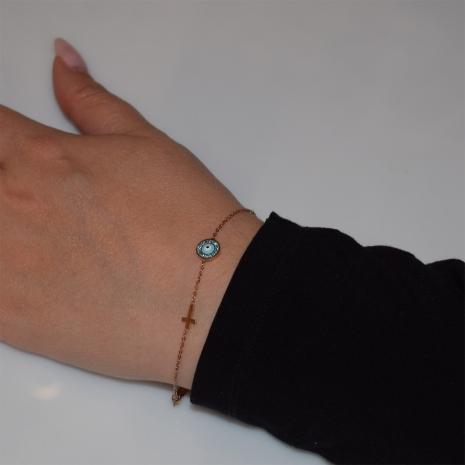 Βραχιόλι ατσάλινο (stainless steel) ματάκι σταυρός με τιρκουάζ κρυστάλλους και σμάλτο σε ροζ χρυσό χρώμα BZ-BR-00457 Εικόνα 2
