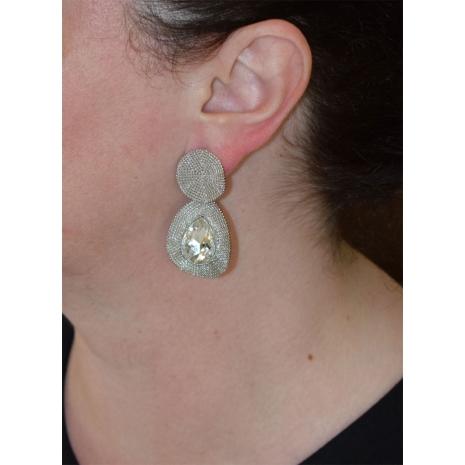 Σκουλαρίκια φο μπιζού μακριά δάκρυ με κρυστάλλους σε ασημί χρώμα BZ-ER-00471 εικόνα 2