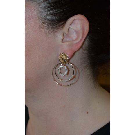 Σκουλαρίκια φο μπιζού κρίκοι με λευκούς κρυστάλλους σε ροζ χρυσό χρώμα BZ-ER-00476 εικόνα 2