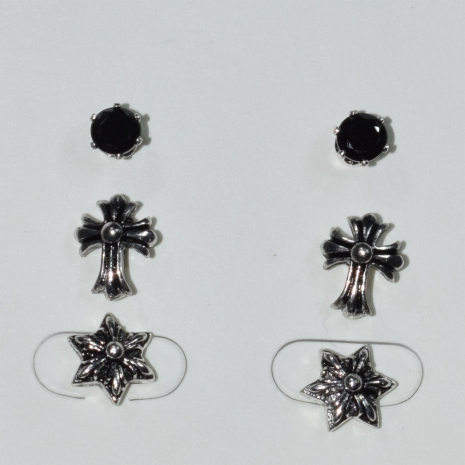 Earrings (set three together) faux bijoux brass cross star with black crystals in silver/grey color BZ-ER-00619 Image 2
