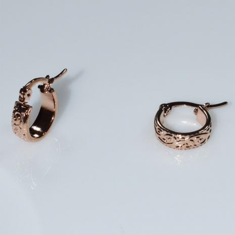 Σκουλαρίκια φο μπιζού ορείχαλκος κρίκοι σε ροζ χρυσό χρώμα BZ-ER-00631 Εικόνα 2