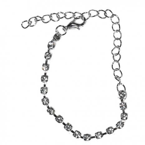 Κολιέ φο μπιζού statement σετ με σκουλαρίκια, βραχιόλι, δαχτυλίδι σε ασημί χρώμα με λευκούς κρυστάλλους BZ-NK-00379 Εικόνα Βραχιόλι