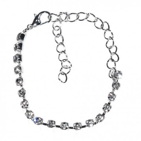 Κολιέ φο μπιζού statement σετ με σκουλαρίκια, βραχιόλι, δαχτυλίδι σε ασημί χρώμα με λευκούς κρυστάλλους BZ-NK-00383 Εικόνα Βραχιόλι