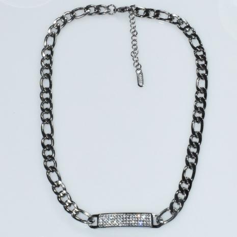 Κολιέ ατσάλινο (stainless steel) ταυτότητα με λευκούς κρυστάλλους σε ασημί χρώμα BZ-NK-00403 Εικόνα 2