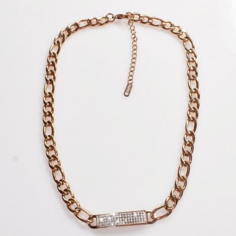 Κολιέ ατσάλινο (stainless steel) ταυτότητα με λευκούς κρυστάλλους σε ροζ χρυσό χρώμα BZ-NK-00404 Εικόνα 2