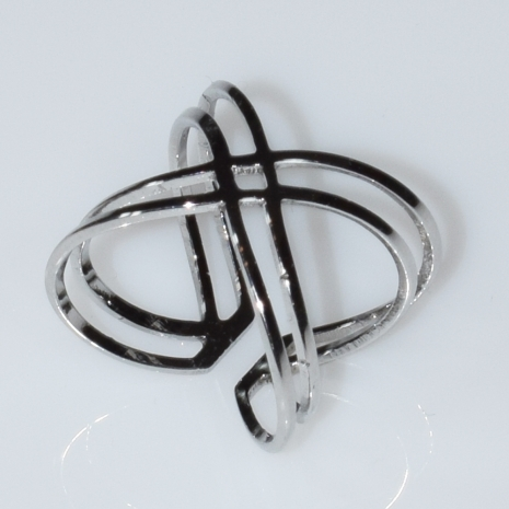 Δαχτυλίδι φο μπιζού σε σχήμα Χ σε ασημί χρώμα BZ-RG-00410 Εικόνα 2