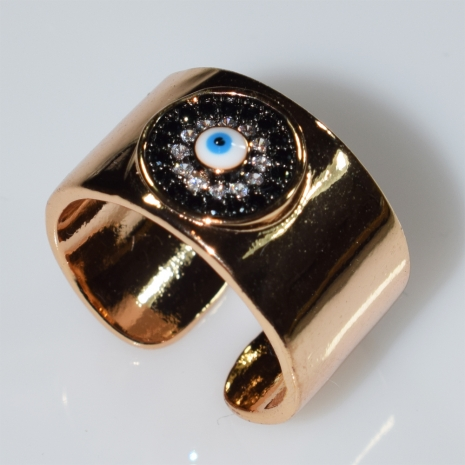 Δαχτυλίδι φο μπιζού ματάκι evil eye με λευκούς κρυστάλλους σε ροζ χρυσό χρώμα BZ-RG-00427 Εικόνα 2