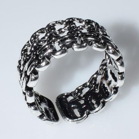 Δαχτυλίδι φο μπιζού ορείχαλκος αλυσίδες σε ασημί χρώμα BZ-RG-00436 Εικόνα 2