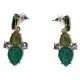 Earrings faux bijoux brass with green and white crystals in gold color BZ-ER-00606