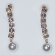 Earrings faux bijoux brass long with pearls and white crystals in rose gold color BZ-ER-00608 Image 2