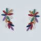 Earrings faux bijoux brass flower with multi-color crystals in gold color BZ-ER-00610 Image 2