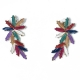 Earrings faux bijoux brass flower with multi-color crystals in gold color BZ-ER-00610