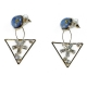 Earrings faux bijoux brass triangles with white crystals in gold color BZ-ER-00612