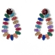 Earrings faux bijoux brass drops with multi-color crystals in gold color BZ-ER-00614