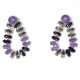 Earrings faux bijoux brass drops with purple crystals in gold color BZ-ER-00615