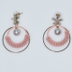 Earrings faux bijoux brass long hoops with pearls and white crystals in gold color BZ-ER-00616 Image 2