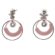 Earrings faux bijoux brass long hoops with pearls and white crystals in gold color BZ-ER-00616