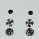 Earrings (set three together) faux bijoux brass cross with black crystals in silver/grey color BZ-ER-00617 Image 2