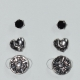 Earrings (set three together) faux bijoux brass cross heart with black crystals in silver/grey color BZ-ER-00618 Image 2